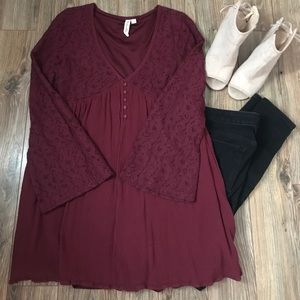 Maroon Lace Tunic